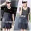 Lady Ribbon Korea Denim Dress LR13270616 &#x1F380 Lady Ribbon's Made &#x1F380 Comme des Garcons Jersey and Denim Dress เ thumbnail 1