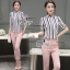 Lady Ribbon Korea Brand SV15060616 Best Seller-Restock &#x1F389Sevy Two Pieces Of Stripes Shirt With Pant Suit Sets thumbnail 4