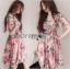 Lady Ribbon เสื้อผ้าเกาหลี LR04140716 &#x1F380 Lady Ribbon's Made &#x1F380 Gucci Sweet Natural Floral Printed Mini Pink Dress เดรสสีชมพูพิมพ์ลายดอกไม้ thumbnail 1