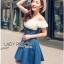 Lady Ribbon Korea Dressเสื้อผ้า Denim LR11010816 &#x1F380 Lady Ribbon's Made &#x1F380 Lady Rachel Sweet & Sexy Off-Shoulder Flower Lace and Denim Dress เดรสเปิดไหล่ thumbnail 4