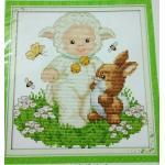ชุดปักครอสติช ลาย เด็กกับกระต่าย ขนาด 20*21 ซม.ผ้าครอสติช 14 CT ไม่พิมพ์ลายปัก ไหมคอตตอน สี+ผังลาย+เข็ม (ส่งฟรี)
