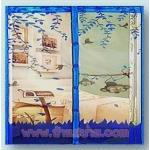 ม่านหน้าต่างกันยุง 130x150 ซม.แบบพิมพ์ลายลิงน้อย สีฟ้า