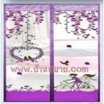 ม่านหน้าต่างกันยุง 110x150 ซม.แบบพิมพ์ลายปั่นรัก สีม่วง