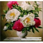 แจกันดอกไม้โทนชมพูขาว