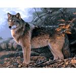 """MG733 ภาพระบายสีตามตัวเลข """"หมาป่ายามเช้า"""""""