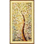ชุดภาพติดคริสตัลกลม ลายต้นไม้ทองคำ (งานติดเต็มภาพ) ขนาด 40*80 ซม. คริสตัลกลม 38 สี อุปกรณ์ครบชุด