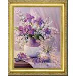 ครอสติสคริสตัลรูปดอกไม้ในแจกัน-คริสตัลเม็ดกลมติดเต็มแผ่น