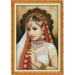 ชุดปักครอสติช ลายสาวอินเดีย ( งานปักเต็มลาย ) ขนาด 55*75 ซม.ผ้าครอสติช 11CTพิมพ์ลายปักเต็มลายผ้า+ไหมคอตตอน 27 สี+ผังลาย+เข็ม