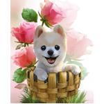 ชุดภาพติดคริสตัลกลม ลายน้องหมาในตะกร้า ( งานติดเต็มภาพ ) ขนาด 35*45 ซม. คริสตัลกลม 37 สี อุปกรณ์ครบชุด