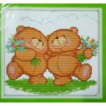 ชุดปักครอสติช ลาย หมีคู่ ขนาด 28*26 ซม.ผ้าครอสติช 11CTพิมพ์ลายปัก ไหมคอตตอน สี+ผังลาย+เข็ม (ส่งฟรี)