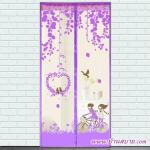 ม่านประตูกันยุง ไซส์ 90 รุ่นพรีเมียม พิมพ์ลายปั่นรัก สีม่วง