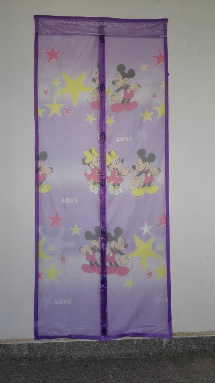 ม่านประตูกันยุง รุ่นเกรดเอ ไซส์ 90 แบบพิมพ์ลายมิกกี้เมาส์ สีม่วง