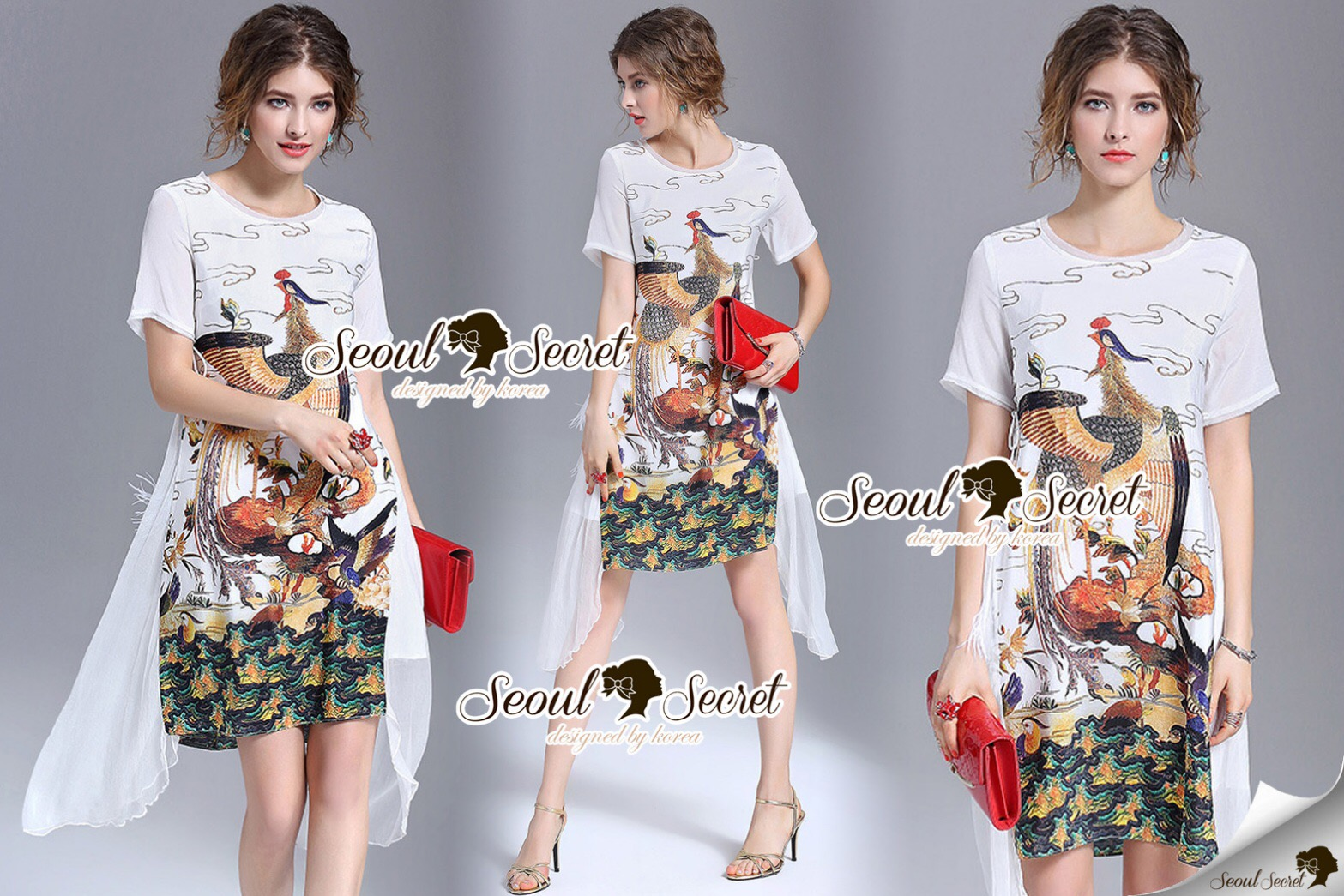 Brand Seoul Secret Lady Say's... Embellish Chiffon Flamingo Ribbon Print Dress