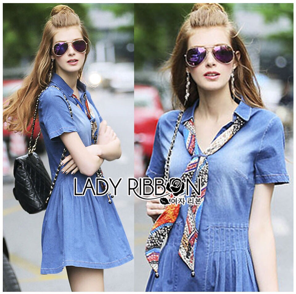 Lady Ribbon Korea Denim Dress LR18130616 &#x1F380 Lady Ribbon's Made &#x1F380 Lady Erin Casual Denim Shirt Dress with Printed Satin Scarf