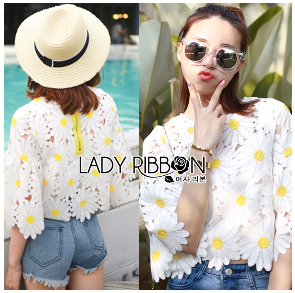 Lady Ribbon KOrea Dress &#x1F380 Lady Ribbon's Made &#x1F380 Lady Jessica Little Daisy Sunshine White and Yellow Floral Cropped Top
