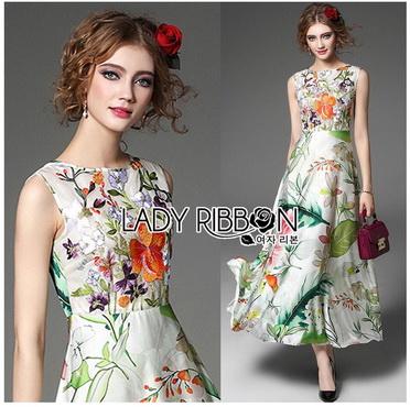 Lady Ribbon Korea Maxi Dress LR15270616 &#x1F380 Lady Ribbon's Made &#x1F380 Lady Sara Floral Blossoms Printed and Embroidered SatinMaxi Dress