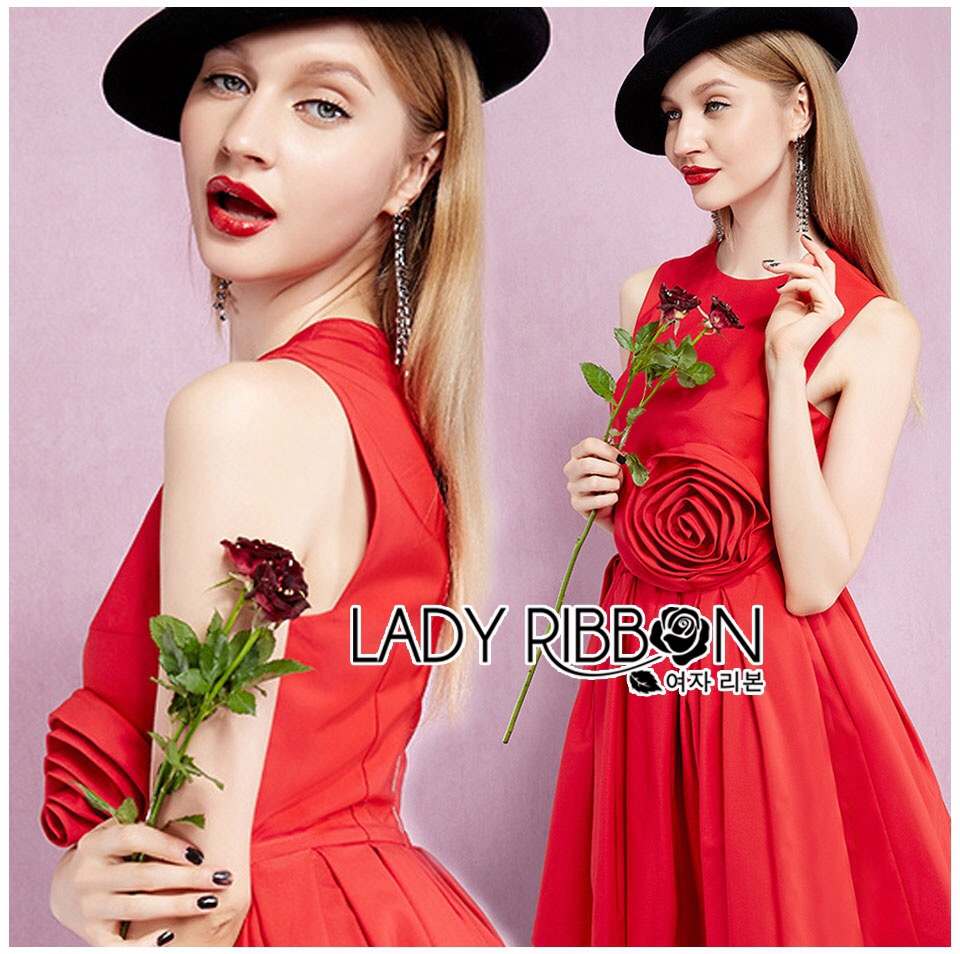 lady ribbon korea LB15160516 &#x1F380 Lady Ribbon's Made &#x1F380 Lady Lara Sexy Scarlett Rose Embroidered Dress
