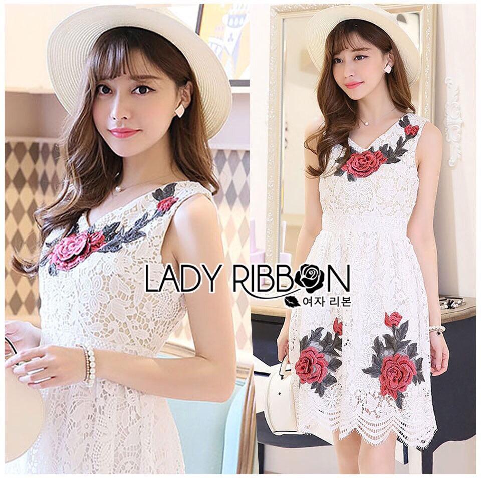 Lady Ribbon Dress LR17300516 &#x1F380 Lady Ribbon's Made &#x1F380 Lady Nina Sweet Sexy 3D Red Roses Embroidered White Lace Dress เดรสผ้าลูกไม้