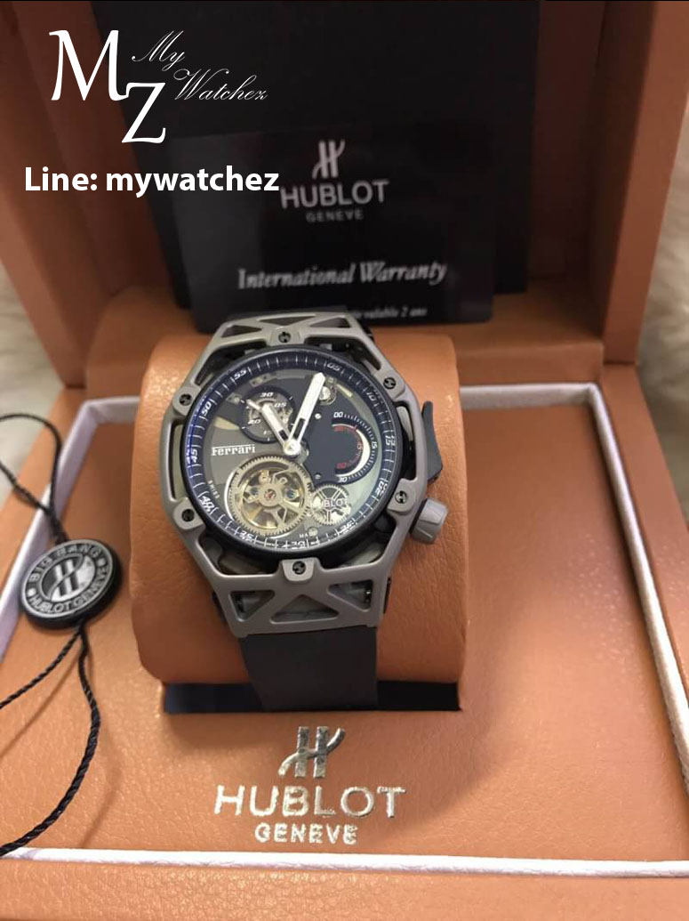 Hublot Techframe Ferrari Tourbillon Chronograph Watch Celebrating Ferrari's 70th Anniversary - Titanium