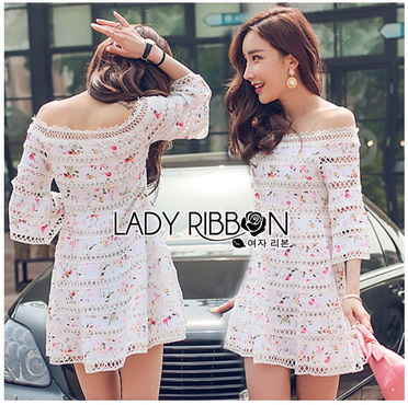 Lady Ribbon Korea Dress ลูกไม้ LR07270616 &#x1F380 Lady Ribbon's Made &#x1F380 Lady Kelly Floral Printed and Lace Embroidered Off-Shoulder Dress