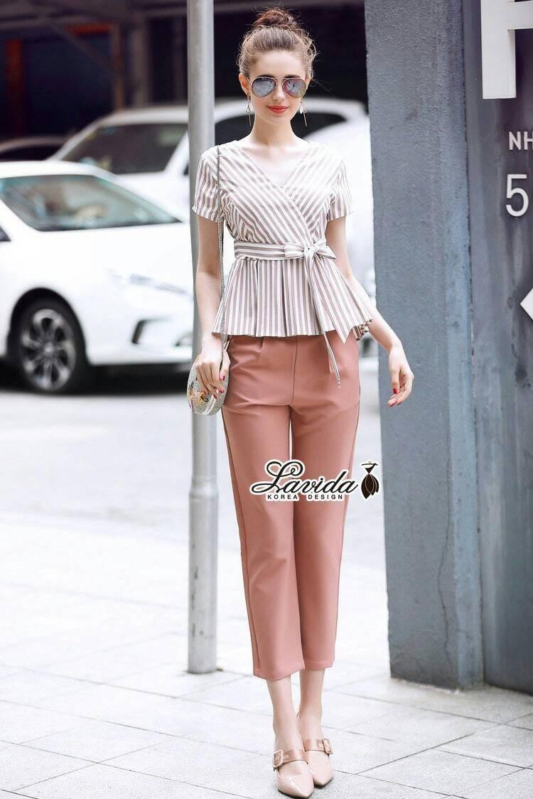 เสื้อผ้าแฟชั่นเกาหลี Lady Ribbon Thailand Korea Design By Lavida Striped printing top long pants set