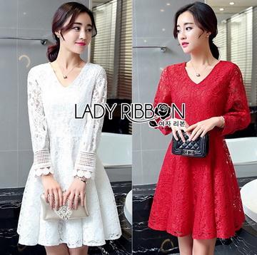 Lady Ribbon เสื้อผ้าเกาหลี LR08110716 &#x1F380 Lady Ribbon's Made &#x1F380 Lady Blaire Classic Feminine Lace Cocktail Dress ค็อกเทลเดรสผ้าลูกไม้สไตล์คลาสสิก