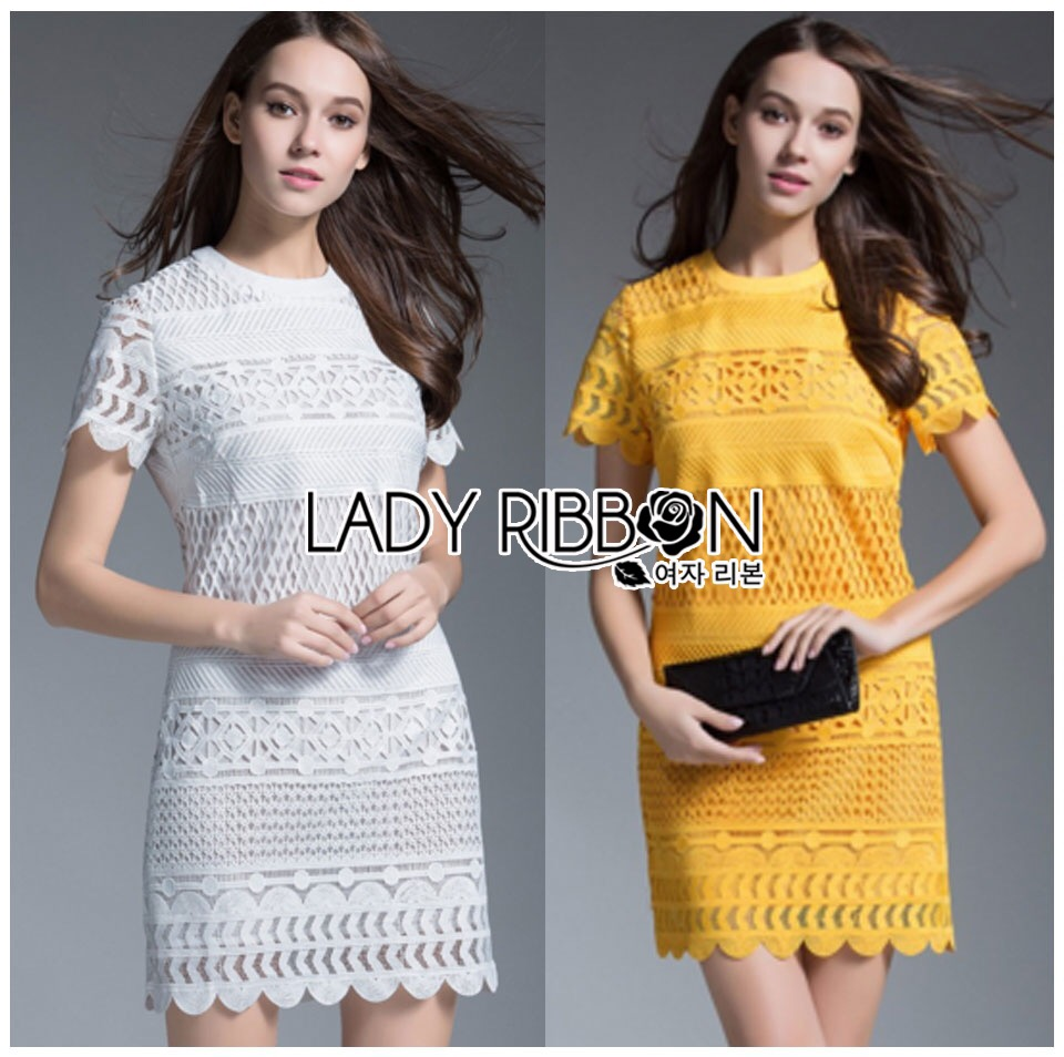 Lady Ribbon's Made &#x1F380 Lady Blooming Classic Lace Dress in White เดรส