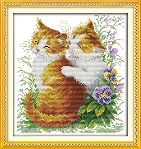 Kissing cats (ไม่พิมพ์/พิมพ์ลาย)