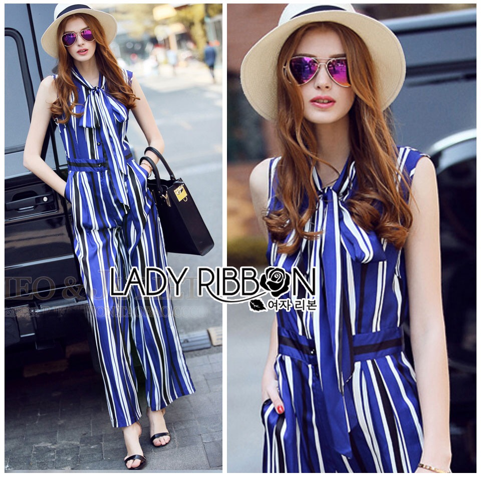Lady Ribbon Korea LB12160516 &#x1F380 Lady Ribbon's Made &#x1F380 Lady Sophie Smart Casual Vibrant Striped Jumpsuit