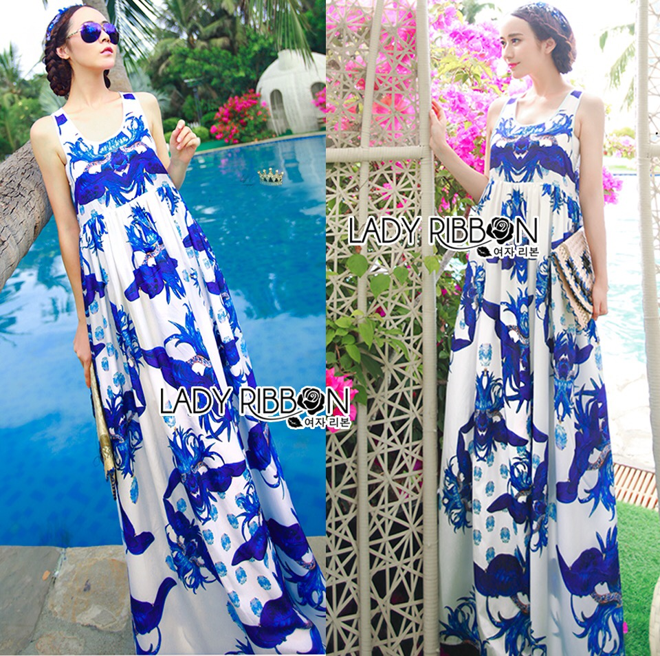 Lady Ribbon's Made &#x1F380 Lady Grace Sexy Elegant White and Blue Printed Cut-Out Back Maxi Dress