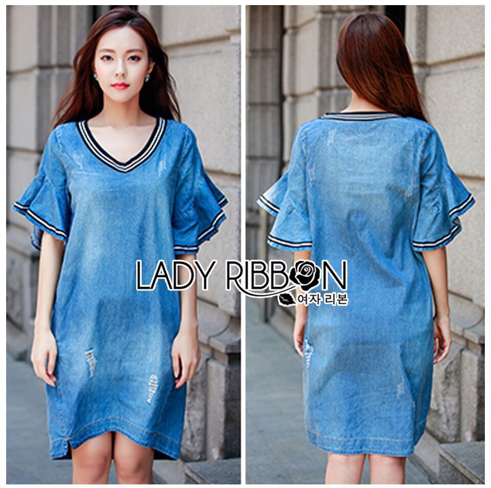 Lady Ribbon Korea LR03260516 &#x1F380 Lady Ribbon's Made &#x1F380 Lady Ashley Smart Casual Ruffle-Sleeve Denim Dress เ