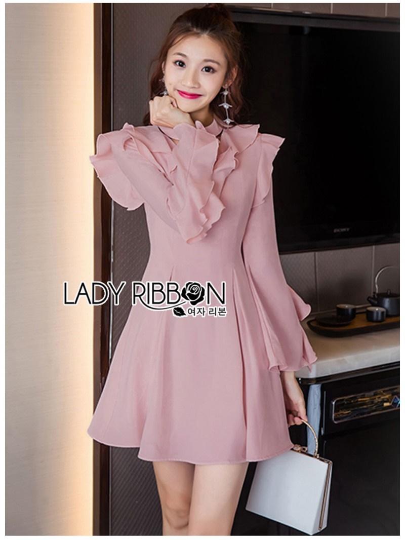 เสื้อผ้าแฟชั่นเกาหลี Lady Ribbon Thailand Lady Ribbon's Made Lady Carolina Cut-Out Ruffle Baby Pink Dress
