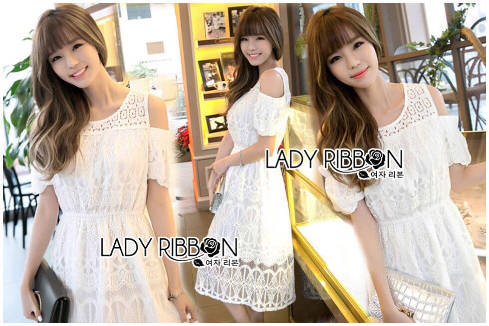 Lady Ribbon Korea Dress Lady Ribbon Korea LR23190516 &#x1F380 Lady Ribbon's Made &#x1F380 Lady Amanda Pretty Sweet Off-Shoulder Lace Dress เดรสผ้าลูกไม้