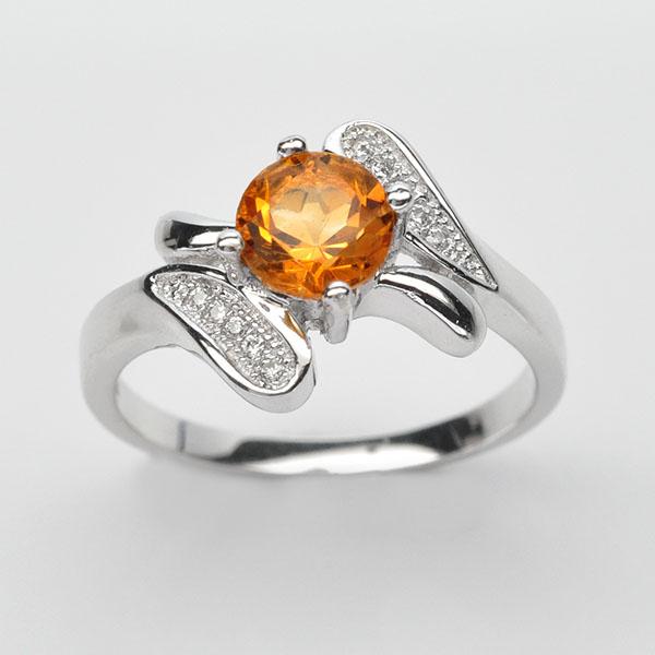 แหวนพลอยแท้ แหวนเงินแท้925 ฝังพลอยซิทริน ประดบข้างด้วยเพชร CZเกรดพรีเมี่ยม