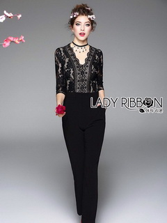 Sexy Black Lace Lady Ribbon Jumpsuit