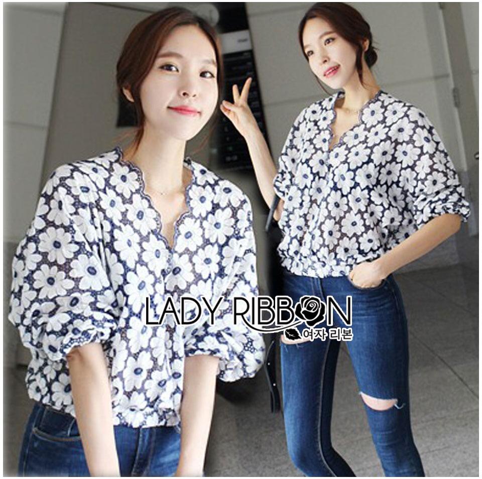Lady Ribbon Cotton Korea Dress Blouse