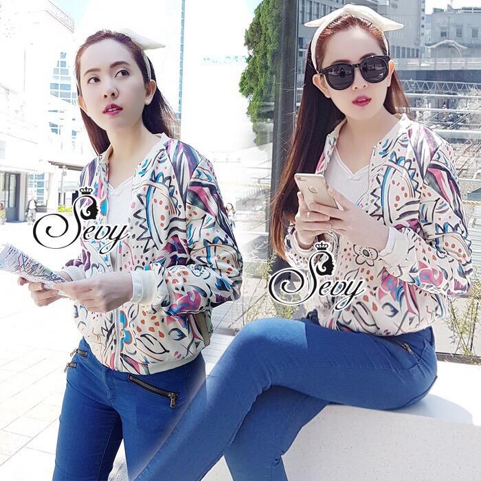 Brand Sevy Tropical Printed Sweater Jacket
