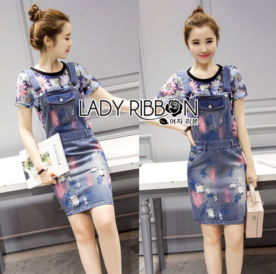Lady Ribbon Korea Denim Dress LR08130616 &#x1F380 Lady Ribbon's Made &#x1F380 Lady Michelle Arty Laser-Cut Floral T-Shirt and Painted Denim Overall Set