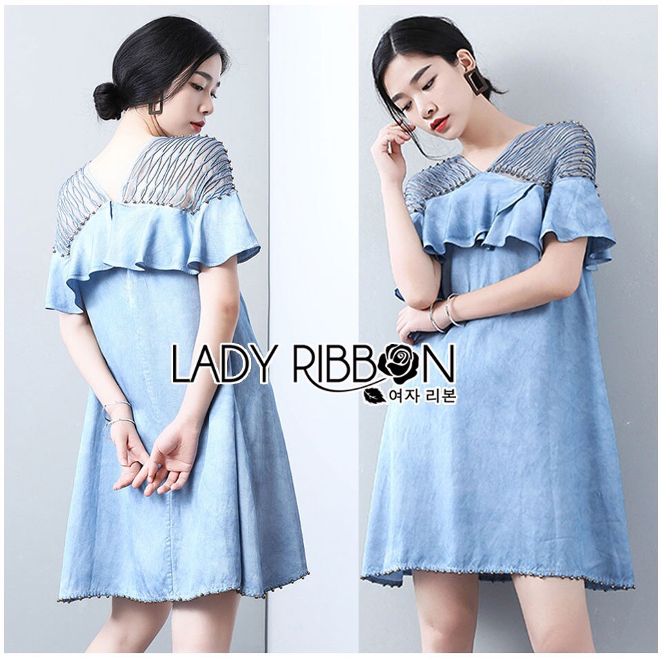 Lady Ribbon Korea Mini Dress LR14230616 &#x1F380 Lady Ribbon's Made &#x1F380 Lady Chrisele Studded Embroidered Frilled Polyester Mini Dress