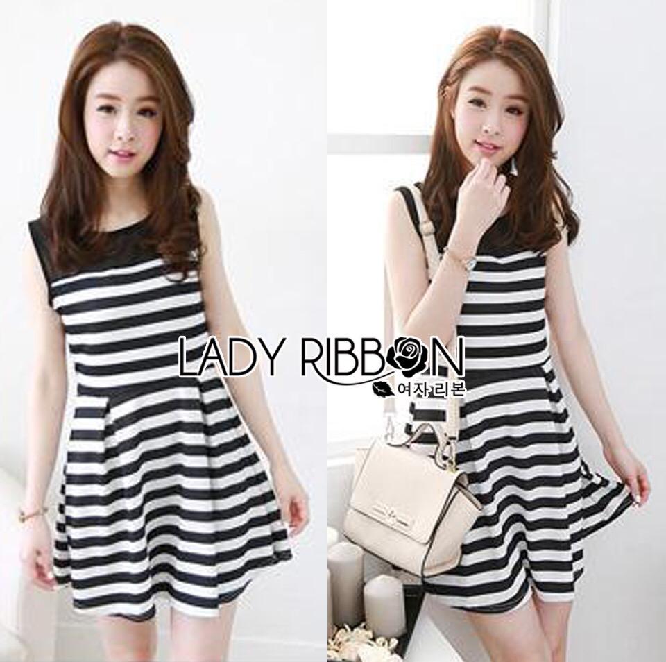Lady Ribbon's Made &#x1F380 Lady Suzi Basic Chic Striped Mini Dress