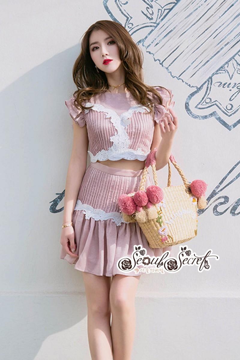 เสื้อผ้าแฟชั่นเกาหลี Lady Ribbon Thailand LUXURY by Seoul Secret ...Lady Sweet Pink Korea Style Lace Flower Embroidery Set