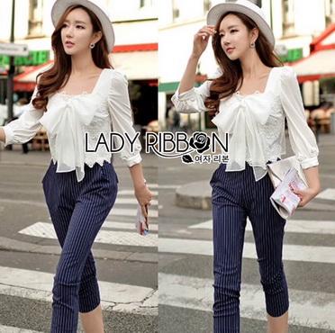 Lady Ribbon Korea Closet Jumpsuit LR15300616 &#x1F380 Lady Ribbon's Made &#x1F380 Lady Natasha Sweet Smart Ribbon and Striped Jumpsuit จัมป์สูท