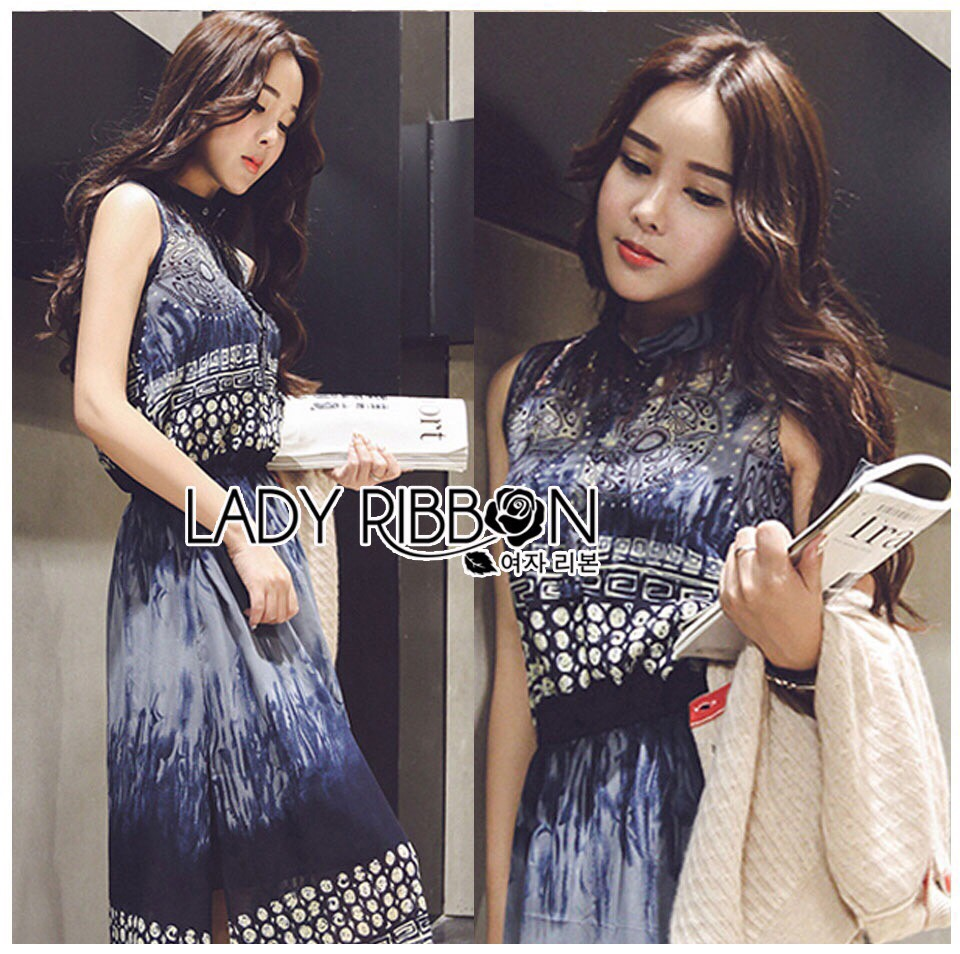 Lady Ribbon Korea LR11190516 &#x1F380 Lady Ribbon's Made &#x1F380 Lady Korea Daria Mysterious Printed Shirt Maxi Dress with Black Lace Corset