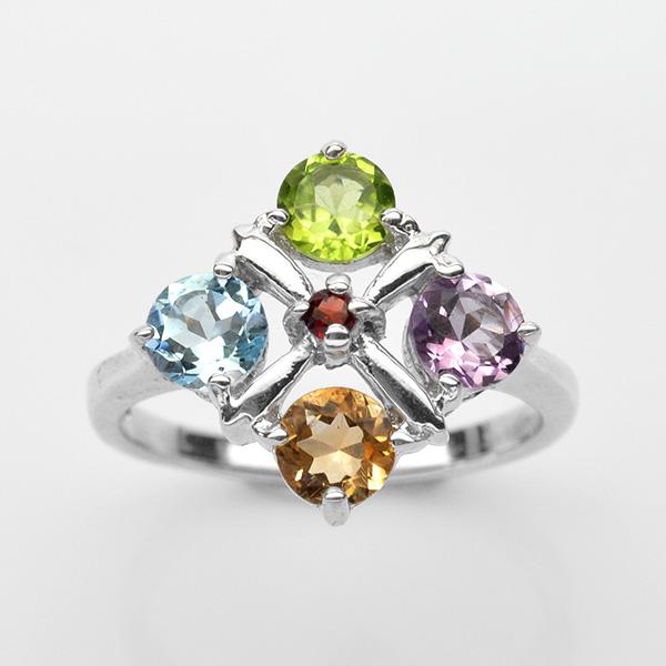 แหวนพลอยแท้ แหวนเงินแท้ 925 ชุบทองคำขาว ฝังพลอยหลากหลายชนิด