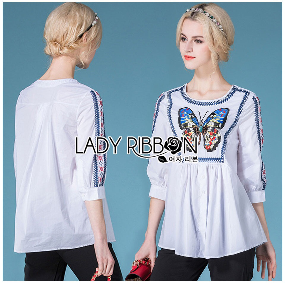 Lady Ribbon Korea Dress &#x1F380 Lady Ribbon's Made &#x1F380 Lady Violet Dreamy Butterfly Embroidered Long Blouse