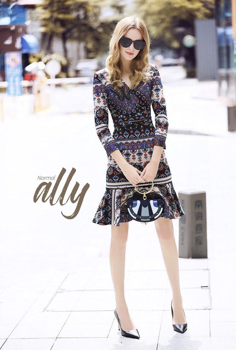เสื้อผ้าแฟชั่นเกาหลี Lady Ribbon Thailand Normal Ally Present Graphic print boutique dress