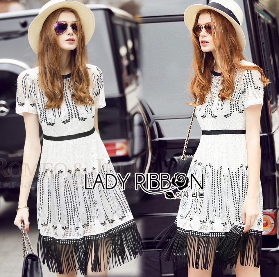 Lady Ribbon Dress LR08120516 &#x1F380 Lady Ribbon's Made &#x1F380 Lady Courtney Urban Bohemian Embroidered Chiffon Fringed Dress