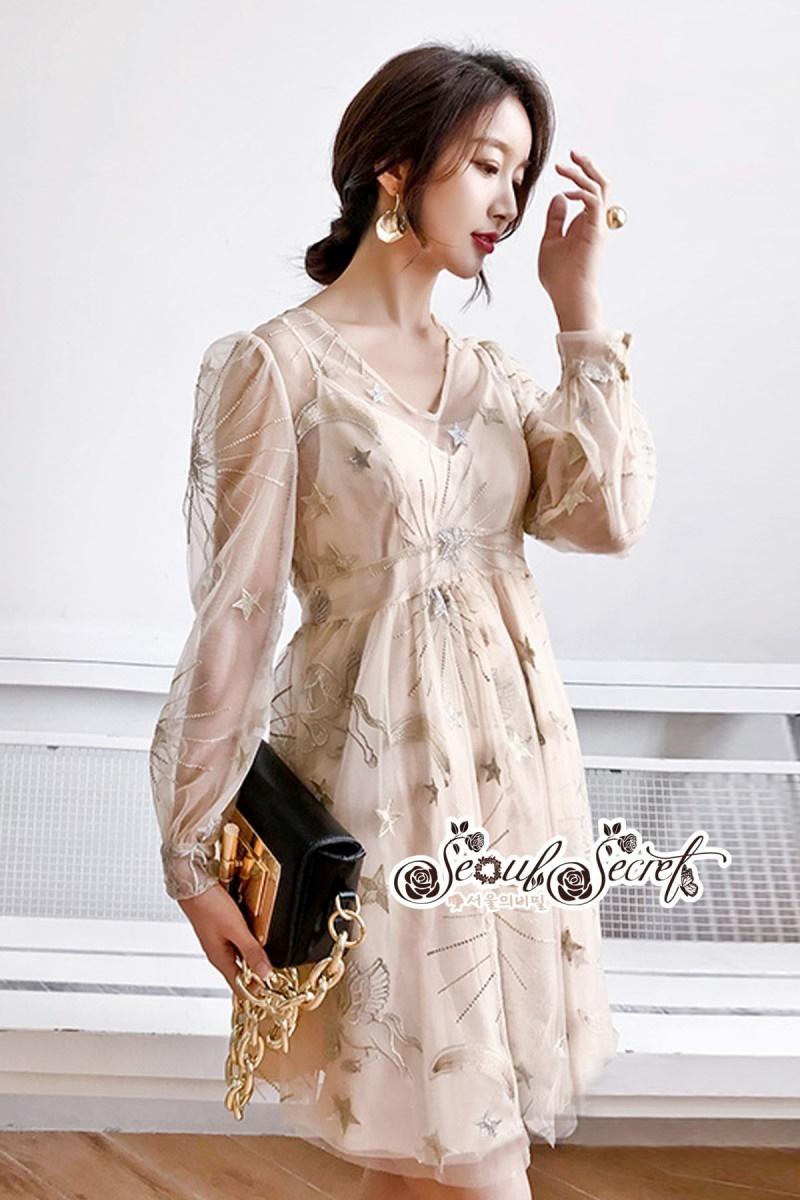 เสื้อผ้าแฟชั่นเกาหลี Lady Ribbon Thailand Seoul Secret Say'...Korea Style Minidress Tulle Department&Cream Embroidery Fancy