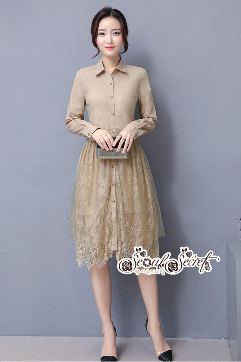 เสื้อผ้าแฟชั่นเกาหลี Lady Ribbon Thailand Seoul Secret Say'...T-Shirt Lace Dress Style Korea Classic Design
