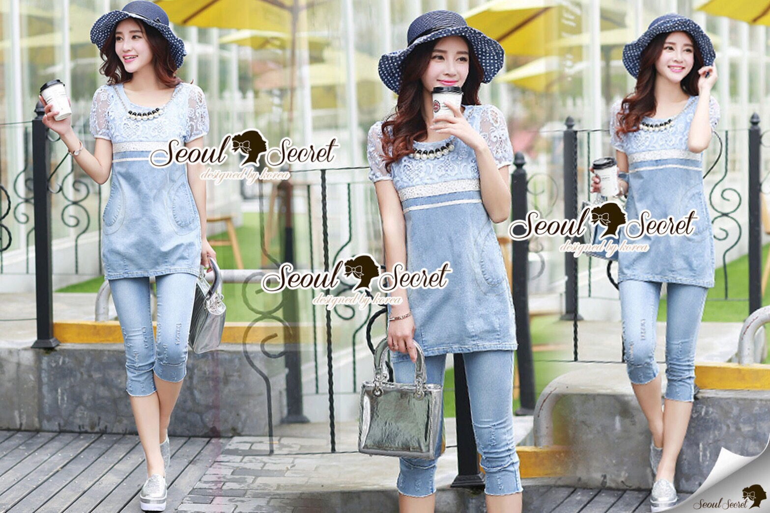 Lady Ribbon Closet Design Seoul Secret Say's... Nifty Softly Blue Denim Set